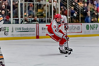 29 December 2018: Rensselaer Engineer Defenseman Tommy Grant, a Senior from Sparta, NJ, in first period action against the University of Vermont Catamounts at Gutterson Fieldhouse in Burlington, Vermont. The Catamounts rallied from a 2-0 deficit to defeat RPI 4-2 and win the annual Catamount Cup Tournament. Mandatory Credit: Ed Wolfstein Photo *** RAW (NEF) Image File Available ***
