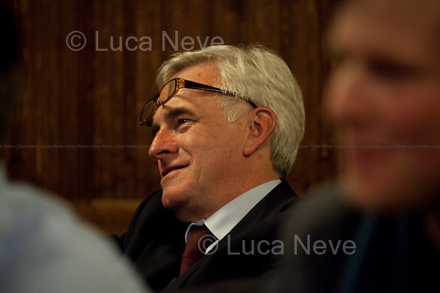John McDonnell, MP - 2012<br /> <br /> London, 19/04/2012. House of Parliament, Committee Room 12. NUJ (National Union of Journalists) organised a meeting to discuss the protection of sources and journalistic material in production order cases. From the NUJ London Photographer Branch (LPB) website: <<All those involved (freelance video journalist Jason Parkinson, BBC, ITN, BskyB, Hardcash Productions) in the Dale Farm production order case have shown great concern at the increase in the use of production orders against the media over the last 18 months and the fear is journalists are being forced into becoming the eyes and ears of the state. The consequences of this can have serious implications towards the impartiality and safety of journalists in the future>>. The speakers included: John Battle (ITN Head of Compliance), Gavin Millar QC (Doughty Street Chambers, lawyer specialised in media, public, employment and discrimination law), Jason Parkinson (NUJ freelance video journalist), Michelle Stanistreet (NUJ general secretary). Chair of the event was Austin Mitchell (Labour MP).