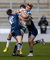 21st March 2021; AJ Bell Stadium, Salford, Lancashire, England; English Premiership Rugby, Sale Sharks versus London Irish; Ollie Hassell-Collins of London Irish is tackled by Sam James of Sale Sharks