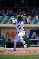 Augusta GreenJackets Jose Layer (22) at bat during a South Atlantic League game against the Lexington Legends on April 30, 2019 at SRP Park in Augusta, Georgia.  Augusta defeated Lexington 5-1.  (Mike Janes/Four Seam Images)