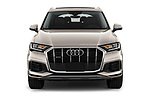 Car photography straight front view of a 2020 Audi Q7 Advanced 5 Door SUV Front View