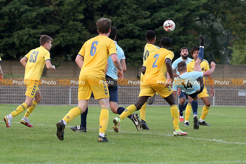 Grant Frances of Barkingside scores the first goal for his team during Barkingside vs AFC Sudbury Reserves, Thurlow Nunn League Football at Cricklefields Stadium on 9th October 2021