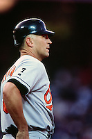 Cal Ripken jr. of the Baltimore Orioles during a game against the Anaheim Angels at Angel Stadium circa 1999 in Anaheim, California. (Larry Goren/Four Seam Images)