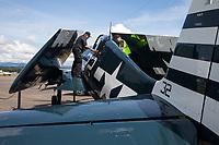Grumman F6F-5 Hellcat Fighter Aircraft, Arlington Fly-In 2016, Washington State, USA.