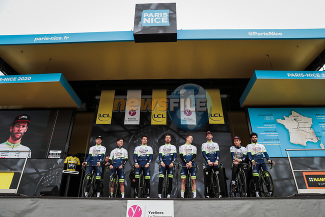 Circus-Wanty Gobert on stage at the Team Presentation before the 78th edition of Paris-Nice 2020, Plaisir, France. 8th March 2020.<br /> Picture: ASO/Fabien Boukla | Cyclefile<br /> All photos usage must carry mandatory copyright credit (© Cyclefile | ASO/Fabien Boukla)