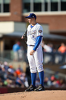 Durham Bulls starting pitcher Blake Snell (37) looks to his catcher for the sign against the Louisville Bats at Durham Bulls Athletic Park on August 9, 2015 in Durham, North Carolina.  The Bulls defeated the Bats 9-0.  (Brian Westerholt/Four Seam Images)