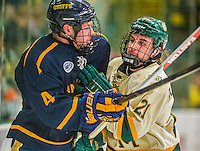 29 December 2013:  University of Vermont Catamount Forward Mario Puskarich, a Freshman from Fort Walton Beach, FL, checks Canisius College Golden Griffin defenseman Geoff Fortman, a Freshman from Crystal Lake, IL in the second period at Gutterson Fieldhouse in Burlington, Vermont. The Catamounts defeated the Golden Griffins 6-2 in the 2013 Sheraton/TD Bank Catamount Cup NCAA Hockey Tournament. Mandatory Credit: Ed Wolfstein Photo *** RAW (NEF) Image File Available ***
