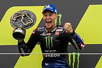 29th August 2021; Silverstone Circuit, Silverstone, Northamptonshire, England; MotoGP British Grand Prix, Race Day; Monster Energy Yamaha MotoGP celebrates winning the British Grand Prix