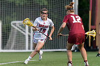 NEWTON, MA - MAY 14: Emma Farnham #19 of University of Massachusetts on the attack during NCAA Division I Women's Lacrosse Tournament first round game between University of Massachusetts and Temple University at Newton Campus Lacrosse Field on May 14, 2021 in Newton, Massachusetts.