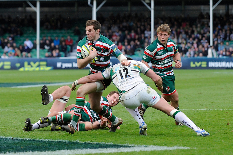Andy Forsyth of Leicester Tigers is tackled by James Downey of Northampton Saints during the LV= Cup Final match between Leicester Tigers and Northampton Saints at Sixways Stadium, Worcester on Sunday 18 March 2012 (Photo by Rob Munro, Fotosports International)