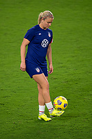 ORLANDO CITY, FL - FEBRUARY 18: Lindsey Horan #9 warms up prior to a game between Canada and USWNT at Exploria stadium on February 18, 2021 in Orlando City, Florida.