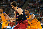 Herbalife Gran Canaria's player Richard Hendrix and FC Barcelona Lassa player Ante Tomic during the final of Supercopa of Liga Endesa Madrid. September 24, Spain. 2016. (ALTERPHOTOS/BorjaB.Hojas)