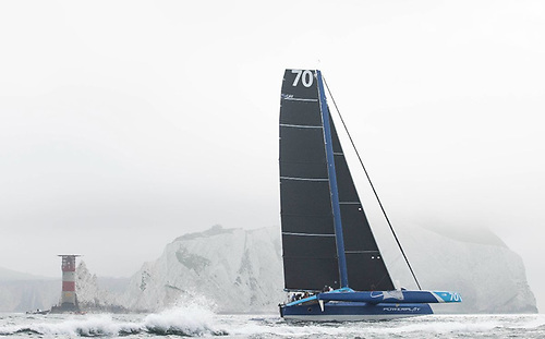 MOD70 PowerPlay, with Peter Cunningham on the helm, finished the race at 10:51:01 BST (09:51:01 UTC) in an elapsed time of 4hrs 11mins 01secs.