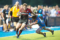 20130803 Copyright onEdition 2013 ©<br />Free for editorial use image, please credit: onEdition.<br /><br />Jack Wilson of Saracens 7s hands off Sam Egerton of London Wasps 7s during the J.P. Morgan Asset Management Premiership Rugby 7s Series.<br /><br />The J.P. Morgan Asset Management Premiership Rugby 7s Series kicks off for the fourth season on Thursday 1st August with Pool A at Kingsholm, Gloucester with Pool B being played at Franklin's Gardens, Northampton on Friday 2nd August, Pool C at Allianz Park, Saracens home ground, on Saturday 3rd August and the Final being played at The Recreation Ground, Bath on Friday 9th August. The innovative tournament, which involves all 12 Premiership Rugby clubs, offers a fantastic platform for some of the country's finest young athletes to be exposed to the excitement, pressures and skills required to compete at an elite level.<br /><br />The 12 Premiership Rugby clubs are divided into three groups for the tournament, with the winner and runner up of each regional event going through to the Final. There are six games each evening, with each match consisting of two 7 minute halves with a 2 minute break at half time.<br /><br />For additional images please go to: http://www.w-w-i.com/jp_morgan_premiership_sevens/<br /><br />For press contacts contact: Beth Begg at brandRapport on D: +44 (0)20 7932 5813 M: +44 (0)7900 88231 E: BBegg@brand-rapport.com<br /><br />If you require a higher resolution image or you have any other onEdition photographic enquiries, please contact onEdition on 0845 900 2 900 or email info@onEdition.com<br />This image is copyright the onEdition 2013©.<br /><br />This image has been supplied by onEdition and must be credited onEdition. The author is asserting his full Moral rights in relation to the publication of this image. Rights for onward transmission of any image or file is not granted or implied. Changing or deleting Copyright information is illegal as specified in the Copyright, Design and Patent