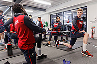 (L-R) Nathan Dyer, Matrin Olsson and Sam Clucas exercise in the gym during the Swansea City Training at The Fairwood Training Ground, near Swansea, Wales, UK. Friday 19 January 2018