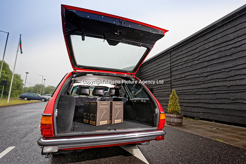 The boot space of the Mercedes W123 series 230TE estate version, outside the Penderyn Whisky Distillery in south Wales, UK. Tuesday 19 June 2018