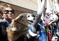 Animalisti protestano davanti all'Ambasciata Ucraina contro l'uccisione di cani e gatti randagi in Ucraina in vista dei campionati Europei di calcio ospitati dalla stessa Ucraina e dalla Polonia, a Roma, 23 maggio 2012..Animal rights activists protest against the killing of stray dogs and cats in Ukraine in front of the Ukrainian Embassy in Rome, 23 may 2012.  Thousands of stray dogs have been killed in Ukraine over the past year - often poisoned or injected with illegal substances in an effort to clear the streets before the Euro 2012 Football Championship takes place in June, outraging local and international animal protection groups..UPDATE IMAGES PRESS/Riccardo De Luca