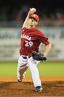 Relief pitcher Charley Sullivan #29 of the Alabama Crimson Tide in action against the Auburn Tigers at Riverwalk Park on March 15, 2011 in Montgomery, Alabama.  Photo by Brian Westerholt / Four Seam Images