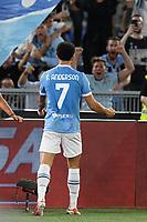 26th September 2021;  Stadio Olimpico, Rome, Italy; Italian Serie A football, SS Lazio versus AS Roma; Felipe Anderson of SS Lazio celebrates after scoring the goal 3-1