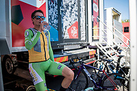 stage winner and new overall leader Primoz Roglic (SVK/Jumbo-Visma) warming down backstage ahead of the podium ceremony<br /> <br /> stage 10 (ITT): Jurançon to Pau (36.2km > in FRANCE)<br /> La Vuelta 2019<br /> <br /> ©kramon