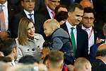Queen Letizia of Spain jokes with FC Barcelona's Neymar Santos Jr and his son during Spanish Kings Cup Final match. May 22,2016. (ALTERPHOTOS/Acero)