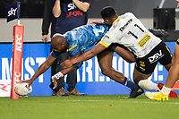 3rd April 2021; Eden Park, Auckland, New Zealand;  Blues winger Mark Telea scores a try in the corner during the Super Rugby Aotearoa rugby match between the Blues and the Hurricanes held at Eden Park, Auckland, New Zealand.