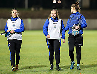 Talitha De Groote (20) of Club Brugge, Julie Vankeirsbilck (16) of Club Brugge and goalkeeper Femke Schamp (1) of Club Brugge pictured after the warm up before a female soccer game between FC Femina White Star Woluwe and Club Brugge YLA on the eleventh matchday of the 2020 - 2021 season of Belgian Scooore Womens Super League , Friday 22 January 2021  in Woluwe , Belgium . PHOTO SPORTPIX.BE   SPP   SEVIL OKTEM