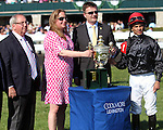 April 19, 2014 Trophy Presentation after Coolmore Lexington Stakes with Shug McGaughey, Daisy Phipps Pullito, and Jose Lezcano.