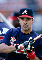 Ozzie Guillen of the Atlanta Braves participates in a Major League Baseball game at Dodger Stadium during the 1998 season in Los Angeles, California. (Larry Goren/Four Seam Images)
