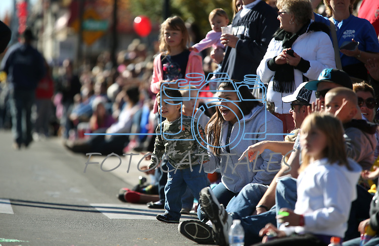 Eliza McEwan and her son Kyle, 2, of Carson City, watch the 75th annual Nevada Day parade in Carson City, Nev., on Saturday, Oct. 26, 2013.<br /> Photo by Cathleen Allison
