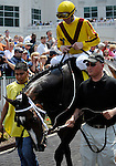 10 June 12: Rachel Alexandra (no. 4), ridden by Calvin Borel and trained by Steve Asmussen, wins the 36th running of the grade 2 Fleur de Lis Handicap for fillies and mares three years old and upward at Churchill Downs in Louisville, Kentucky.