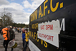 Southport fans leaving the ground after their team's match against Harrogate Town at Wetherby Road, Harrogate. The Conference North match was won 3-2 by Southport, a result which kept the Sandgrounders on course for top spot in the division while Harrogate Town remained bottom.