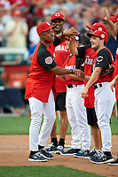 St. Louis Cardinals great Ozzie Smith during introductions before the All-Star Legends and Celebrity Softball Game on July 12, 2015 at Great American Ball Park in Cincinnati, Ohio.  (Mike Janes/Four Seam Images)