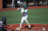 Jack Dragum (6) of the Charlotte 49ers at bat against the Florida Atlantic Owls at Hayes Stadium on April 2, 2021 in Charlotte, North Carolina. The 49ers defeated the Owls 9-5. (Brian Westerholt/Four Seam Images)