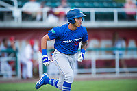 Ogden Raptors third baseman Marcus Chiu (13) runs to first base during a Pioneer League game against the Orem Owlz at Home of the OWLZ on August 24, 2018 in Orem, Utah. The Ogden Raptors defeated the Orem Owlz by a score of 13-5. (Zachary Lucy/Four Seam Images)
