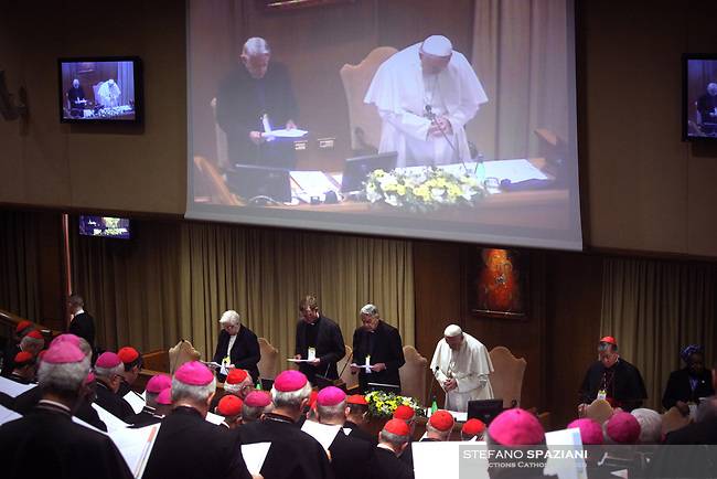 Pope Francis attends the third session of 'The Protection Of Minors In The Church' meeting at the Synod Hall on February 23, 2019 in Vatican City,