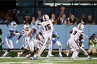 CHAPEL HILL, NC - SEPTEMBER 07: Jarren Williams #15 of the University of Miami throws a pass during a game between University of Miami and University of North Carolina at Kenan Memorial Stadium on September 07, 2019 in Chapel Hill, North Carolina.