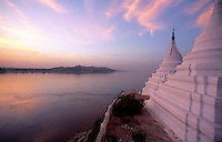 The Images from the Book Journey through Color and Time.Buddhist Stupa and the Ayeyarwady River with Sagaing Monastery on the Horizon, Myanmar, Burma