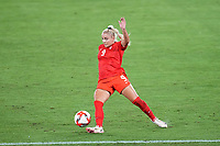 YOKOHAMA, JAPAN - AUGUST 6: Adriana Leon #9 of Canada during a game between Canada and Sweden at International Stadium Yokohama on August 6, 2021 in Yokohama, Japan.