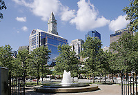 Boston, Mass..Downtown buildings seen from Christopher Columbus Waterfront Park. The tallest bldg. is the historic Customhouse Tower