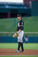 AZL White Sox first baseman Michael Hickman (29) on defense against the AZL Cubs on August 13, 2017 at Sloan Park in Mesa, Arizona. AZL White Sox defeated the AZL Cubs 7-4. (Zachary Lucy/Four Seam Images)