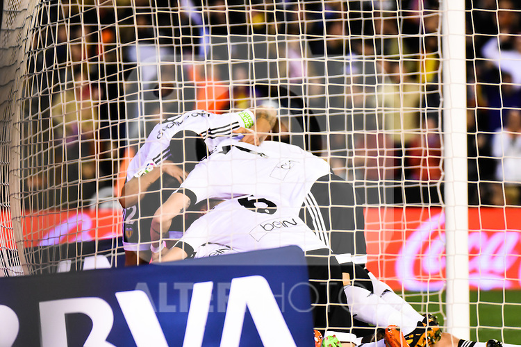 Valencia's    players celebrating a goal  during La Liga match. February 13, 2016. (ALTERPHOTOS/Javier Comos)
