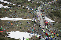 "the first ""peloton"" about to arrive at the highest point in the 2015 Giro: the Colle delle Finestre (2178m)<br /> <br /> Giro d'Italia 2015<br /> stage 20: Saint Vincent - Sestriere (199km),"
