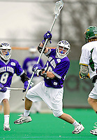 10 April 2007: Holy Cross Crusaders' Douglas Broussard, a Freshman from Floral Park, NY, in action against the University of Vermont Catamounts at Moulton Winder Field, in Burlington, Vermont. The Crusaders rallied to defeat the Catamounts 5-4...Mandatory Photo Credit: Ed Wolfstein Photo