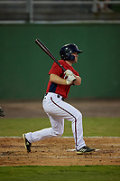 Potomac Nationals Gage Canning (9) hits a single during a Carolina League game against the Myrtle Beach Pelicans on August 14, 2019 at Northwest Federal Field at Pfitzner Stadium in Woodbridge, Virginia.  Potomac defeated Myrtle Beach 7-0.  (Mike Janes/Four Seam Images)