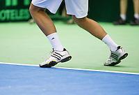 07-04-13, Tennis, Rumania, Brasov, Daviscup, Rumania-Netherlands, Shoes,hardcourt,footfault