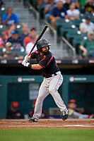 Rochester Red Wings Mike Miller (8) bats during an International League game against the Buffalo Bisons on August 26, 2019 at Sahlen Field in Buffalo, New York.  Buffalo defeated Rochester 5-4.  (Mike Janes/Four Seam Images)