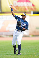 James Harris (22) of the Princeton Rays warms up in the outfield prior to the game against the Burlington Royals at Hunnicutt Field on July 15, 2012 in Princeton, West Virginia.  The Royals defeated the Rays 2-0 in game one of a double header.  (Brian Westerholt/Four Seam Images)