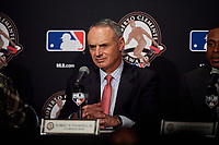Robert D. Manfred Jr., commissioner, during the presentation of the Roberto Clemente Award before Game 3 of the Major League Baseball World Series between the Cleveland Indians and Chicago Cubs on October 28, 2016 at Wrigley Field in Chicago, Illinois.  (Mike Janes/Four Seam Images)