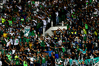 MANIZALES-COLOMBIA, 24-04-2019: Hinchas de Deportivo Cali, animan a su equipo durante partido adelantado de la fecha 19 entre Once Caldas y Deportivo Cali, por la Liga Águila I 2019, jugado en el estadio Palogrande de la ciudad de Manizales. / Fans of Deportivo Cali, cheer for their team during early match of date 19th date between Once Caldas and Deportivo Cali, for the Aguila Leguaje I 2019 played at the Palogrande Stadium in Manizales city. / Photo: VizzorImage / Santiago Osorio / Cont.